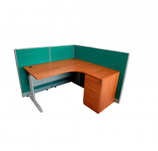 Curved Workstation With Fabric Paratition