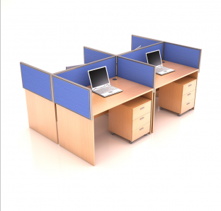 Cluster of 4 workstation with fabric screen panel