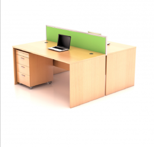 Custom made cluster of two workstation  with Fabric Screen Panel