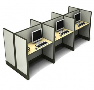 Cluster of 6 Work Station in 140 cm Height