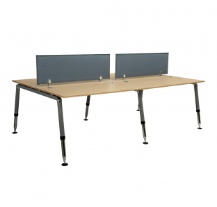 Cluster of 4 Face Workstation in Height Adjustable Leg