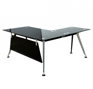 TF 198 L Shape Desk In Glass On Top